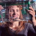 Sandra Rieger, Ph.D., with zebrafish